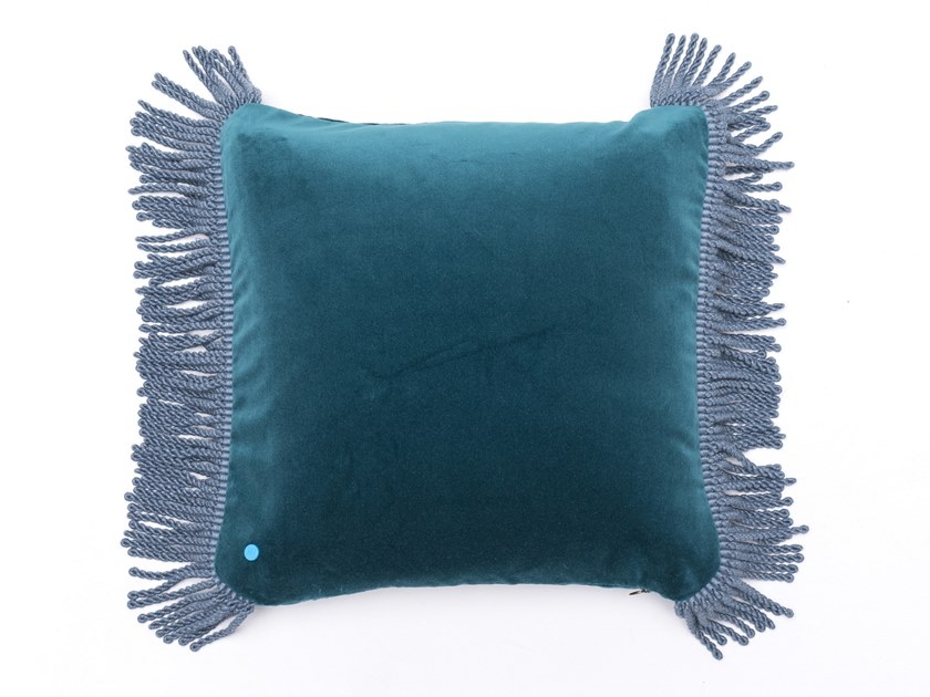 Solid-color square velvet cushion CHARLIE BLEU PAON & BLEU CANARD by Maison Madeleine