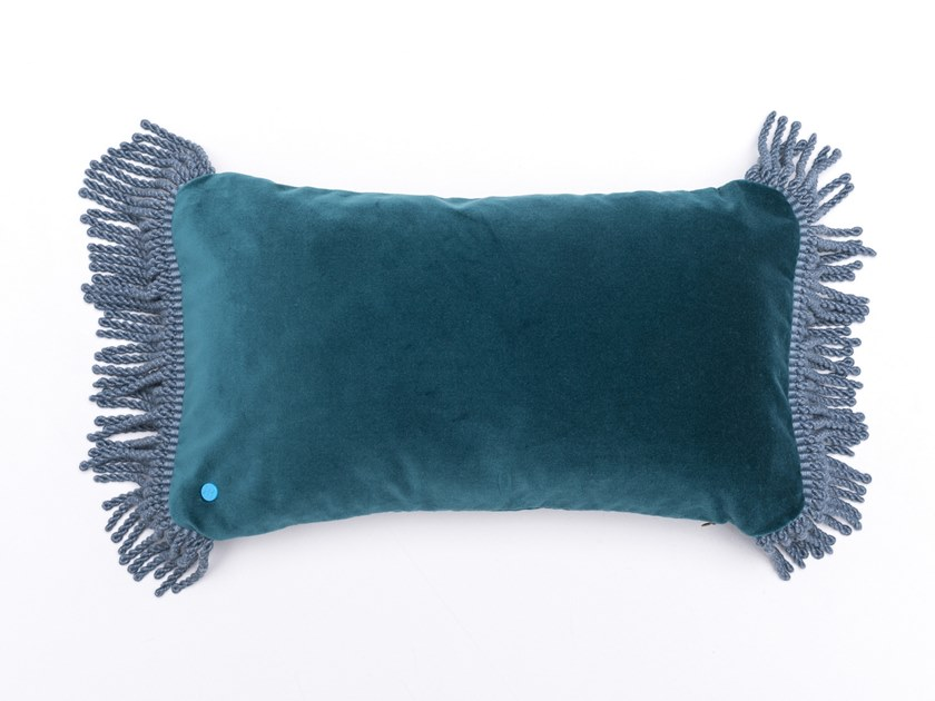 Solid-color rectangular velvet cushion CHARLIE BLEU PAON & BLEU CANARD | Rectangular cushion by Maison Madeleine