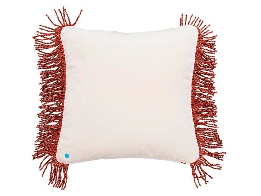 Solid-color velvet cushion CHARLIE CRÈME & TERRACOTTA | Square cushion by Maison Madeleine