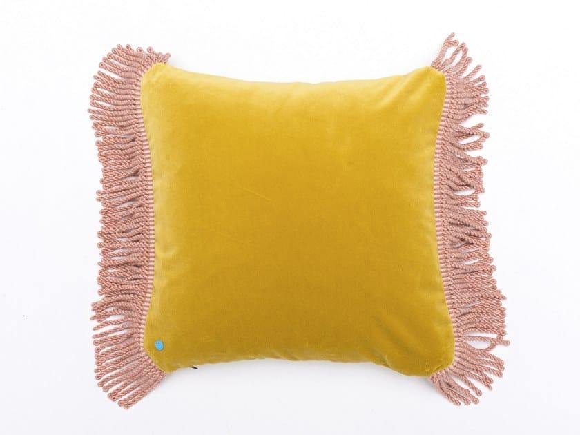 Solid-color square velvet cushion CHARLIE JAUNE BOURDON & ROSE QUARTZ   Square cushion by Maison Madeleine