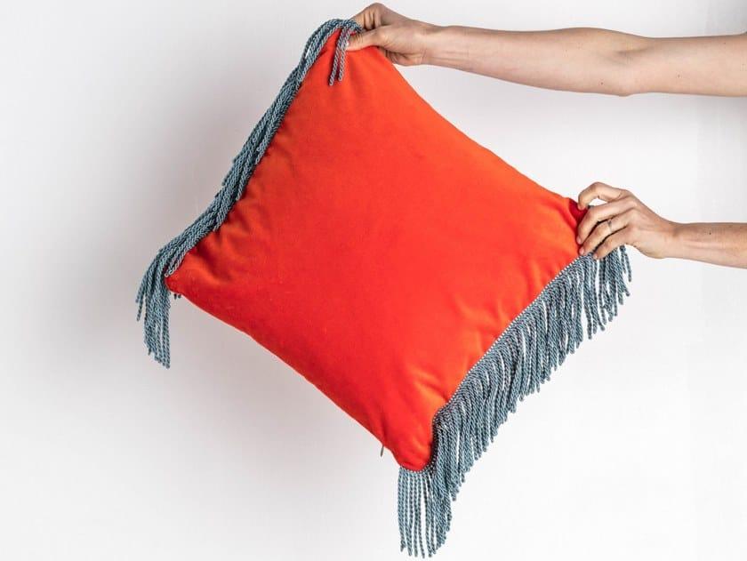 Solid-color square velvet cushion CHARLIE ORANGE MANDARINE & BLEU CANARD | Square cushion by Maison Madeleine