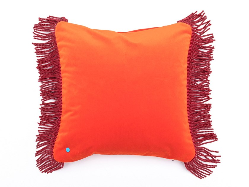 Solid-color square velvet cushion CHARLIE ORANGE MANDARINE & MARSALA | Square cushion by Maison Madeleine
