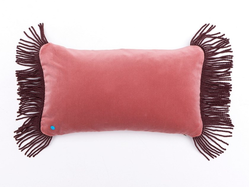 Solid-color rectangular velvet cushion CHARLIE ROSE LILAS & LIE DE VIN | Rectangular cushion by Maison Madeleine