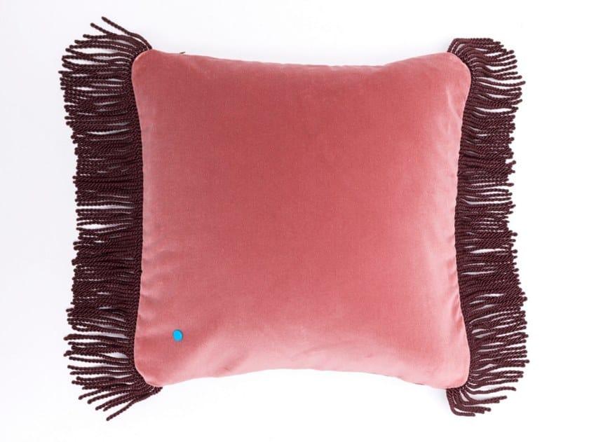 Solid-color square velvet cushion CHARLIE ROSE LILAS & LIE DE VIN   Square cushion by Maison Madeleine