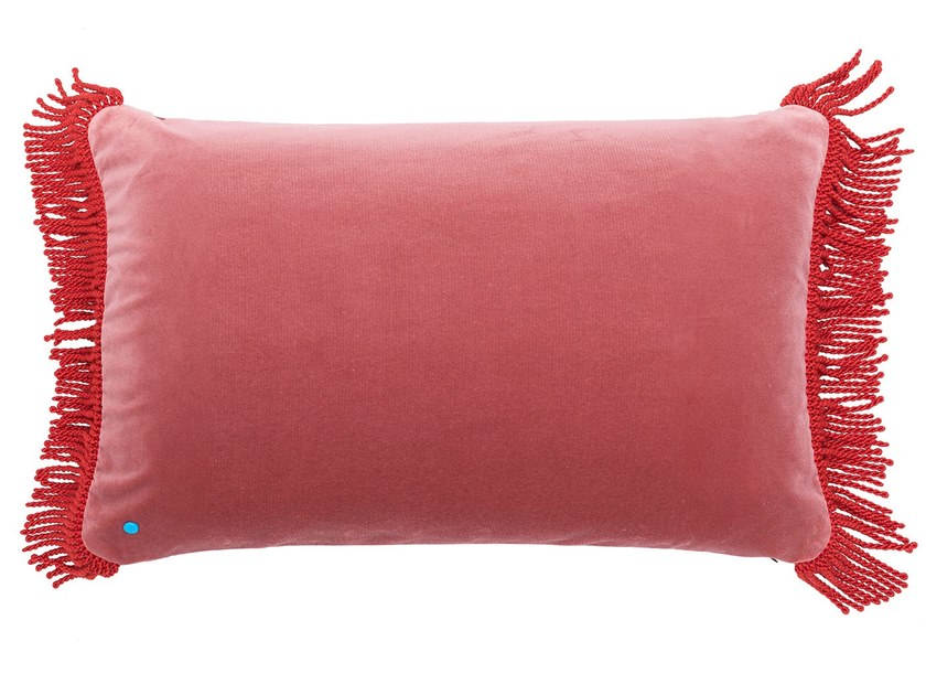Solid-color rectangular cotton sofa cushion CHARLIE ROSE LILAS & ROUGE CARDINAL | Rectangular cushion by Maison Madeleine