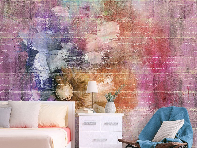 Wall effect Digital printing wallpaper with floral pattern CHARLIE by Tecnografica Italian Wallcoverings