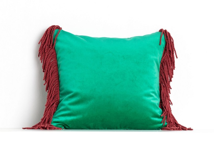 Solid-color square velvet cushion CHARLIE VERT VERONESE & ROUGE FRAMBOISE | Square cushion by Maison Madeleine