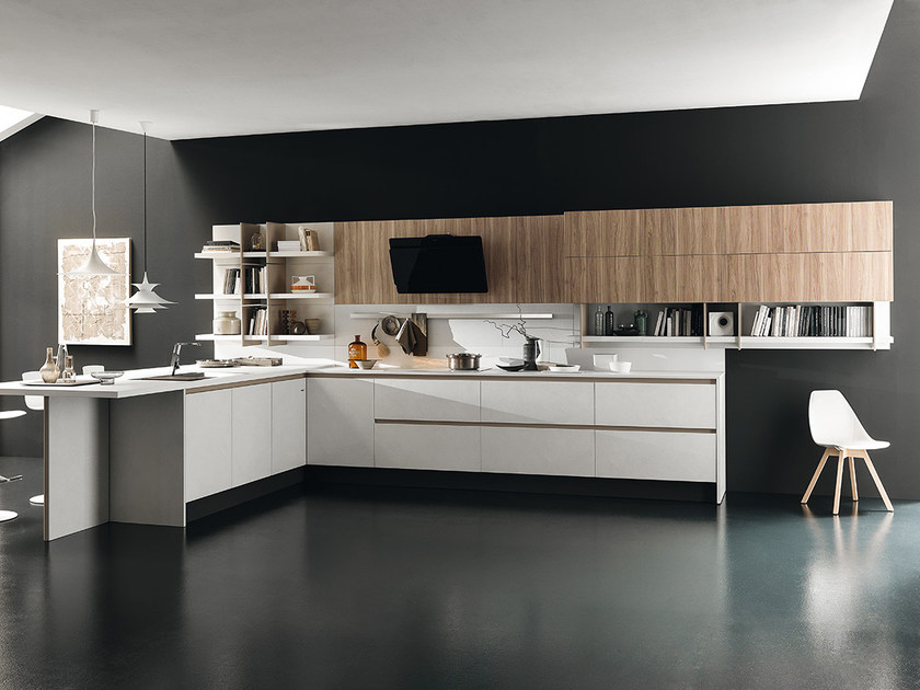 Melamine-faced chipboard kitchen with peninsula CHARME 37   Kitchen by Febal Casa
