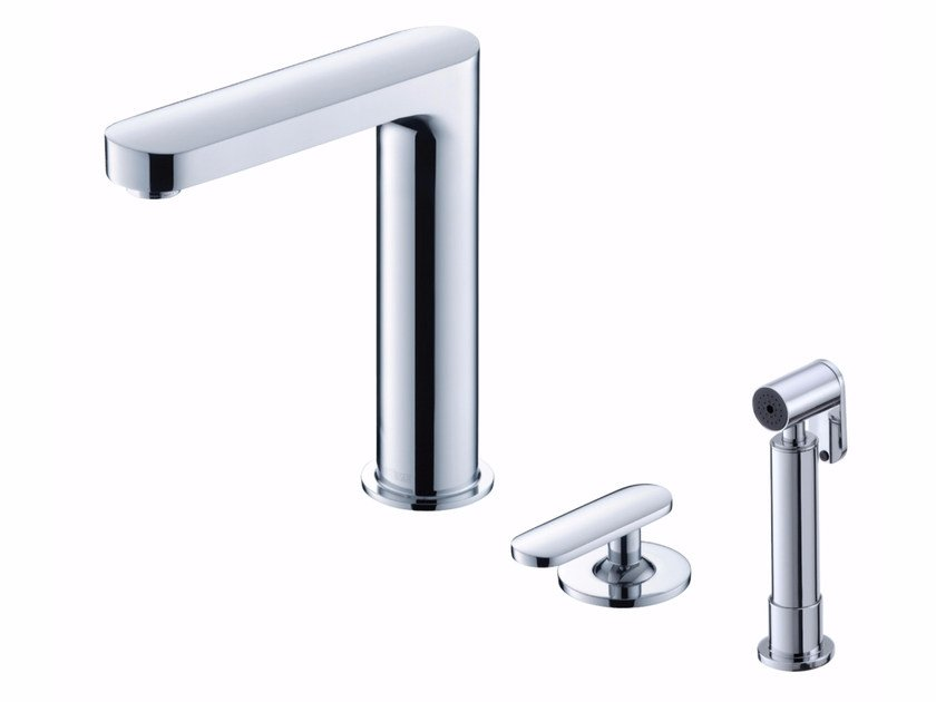 3 hole countertop kitchen mixer tap with pull out spray CHARMING   3 hole kitchen mixer tap by JUSTIME
