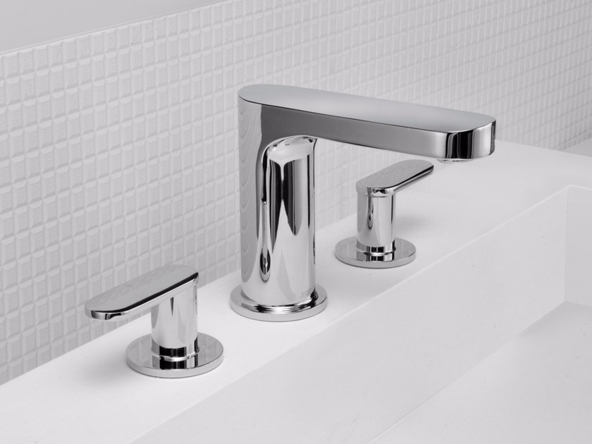 3 hole countertop chromed brass washbasin tap CHARMING PLUS   3 hole washbasin tap by JUSTIME