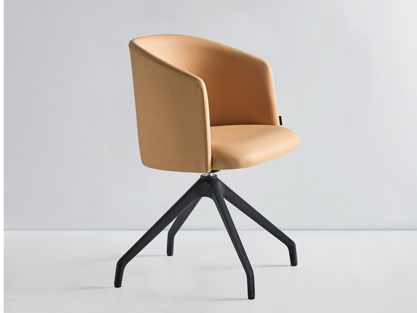 Trestle-based leather chair with armrests CHELSEA 800 4 GT by Mobboli