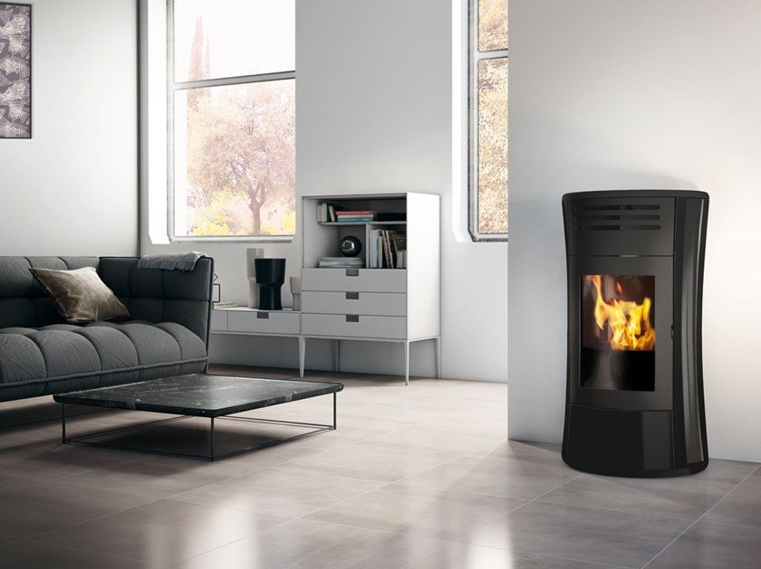 Pellet glass stove CHERIE UP | Glass stove by EDILKAMIN