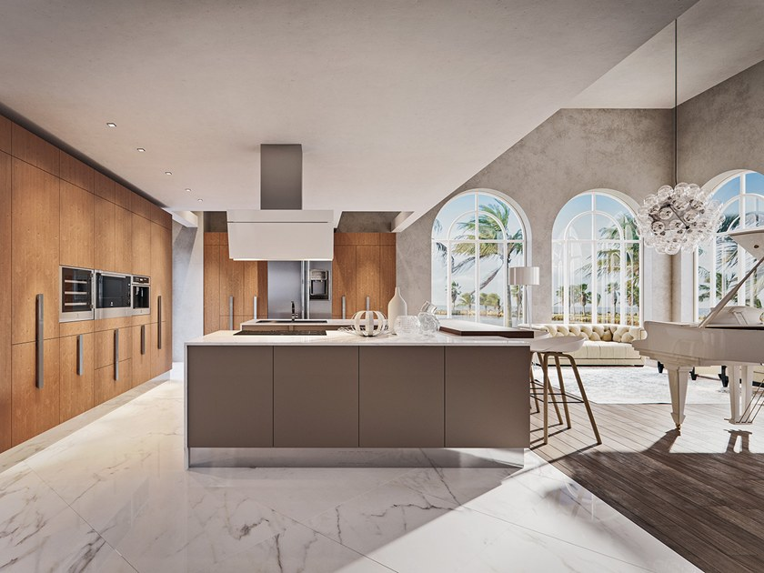 Carrara marble fitted kitchen with island CHERRY - GOLD EDITION by Febal Casa