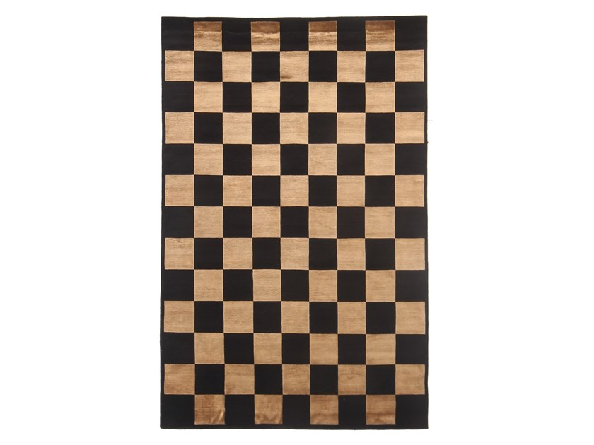 Handmade rectangular rug CHESS by EBRU