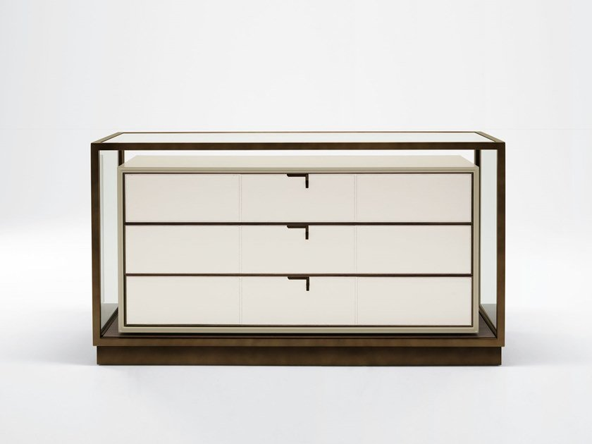 Modular wood and glass chest of drawers TOWN | Chest of drawers by GIORGETTI