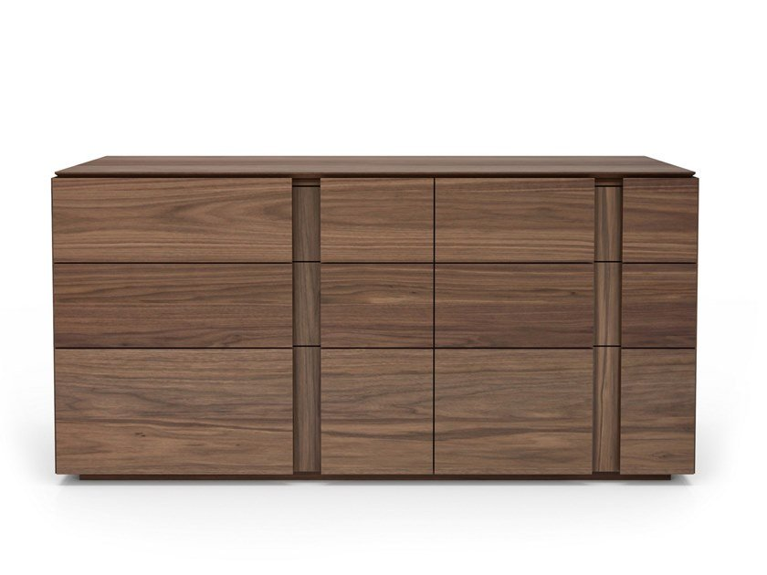Walnut chest of drawers with integrated handles DUSK | Chest of drawers by Huppé