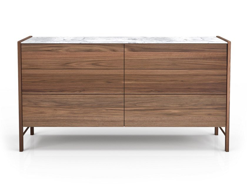 Walnut chest of drawers with integrated handles FRIDA | Chest of drawers by Huppé