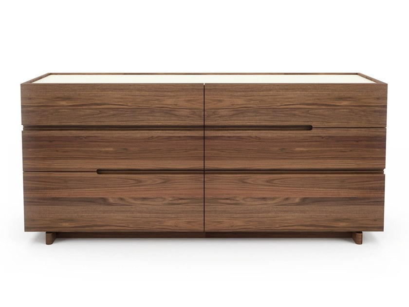 Walnut chest of drawers with integrated handles NELSON | Chest of drawers by Huppé
