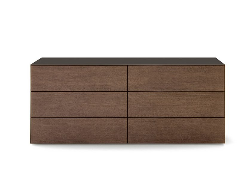 Lacquered wooden chest of drawers with integrated handles NORMA | Chest of drawers by PIANCA