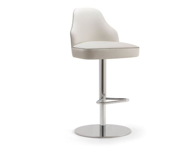 Leather stool with back with footrest CHICAGO | Stool with footrest by Tirolo