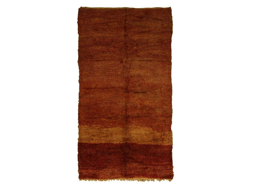 Long pile rectangular wool rug CHICHAOUA TAA1014BE by AFOLKI