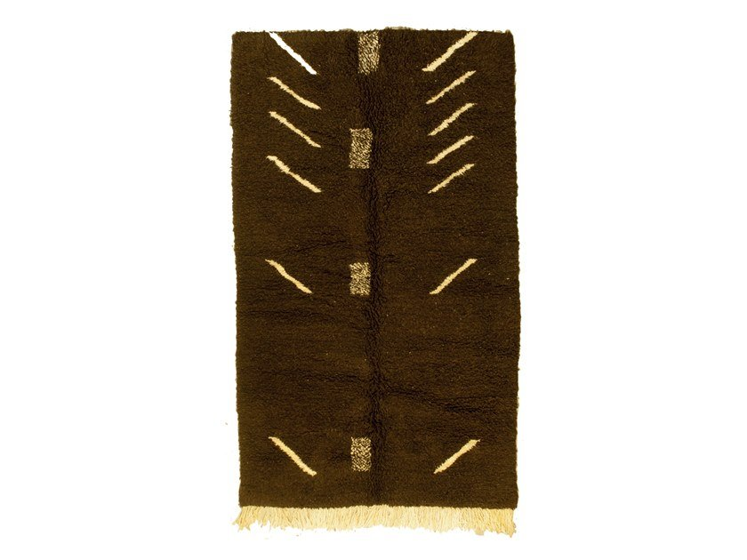 Patterned long pile rectangular wool rug CHICHAOUA TAA1246BE by AFOLKI
