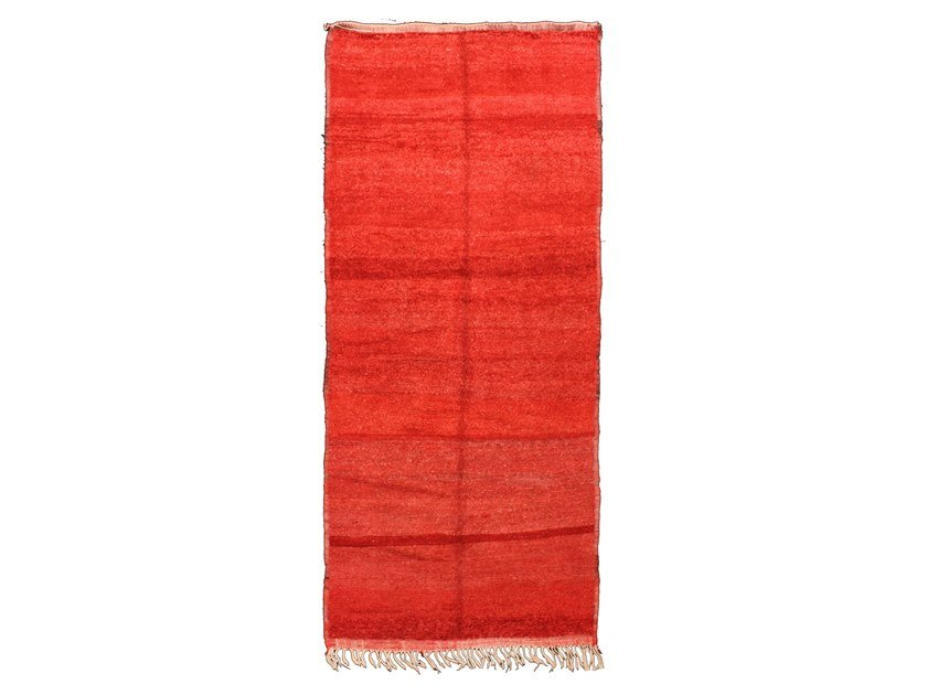 Long pile solid-color rectangular wool rug CHICHAOUA TAA704BE by AFOLKI