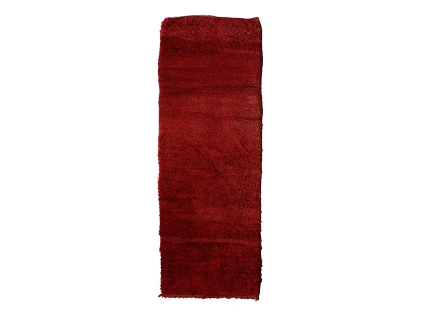 Long pile solid-color rectangular wool rug CHICHAOUA TAA899BE by AFOLKI