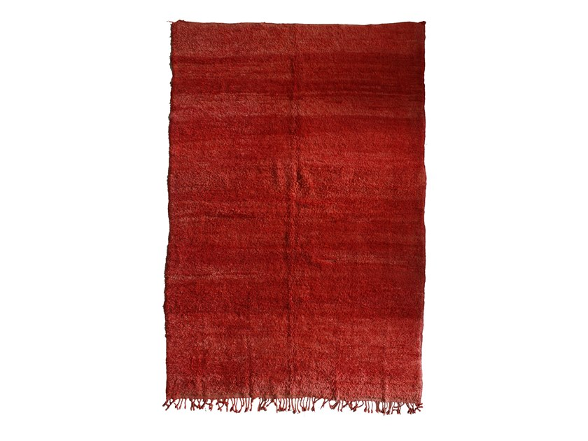 Long pile solid-color rectangular wool rug CHICHAOUA TAA900BE by AFOLKI