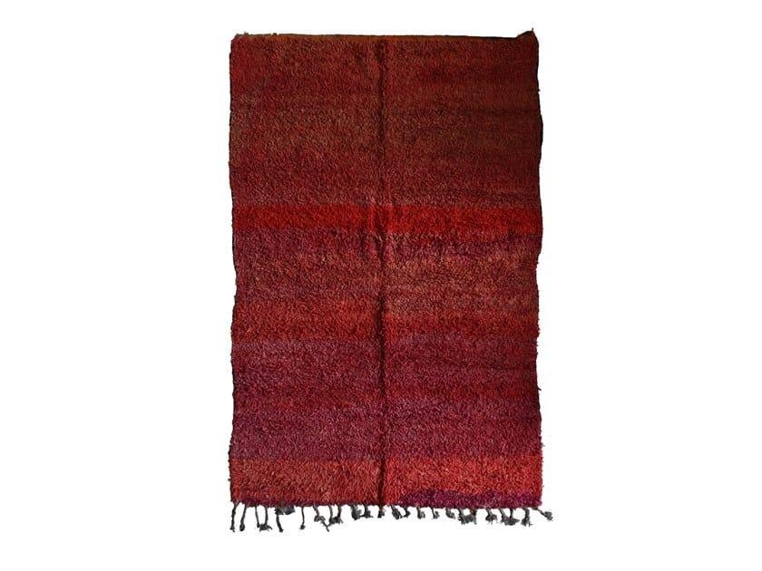 Long pile rectangular wool rug CHICHAOUA TAA901BE by AFOLKI