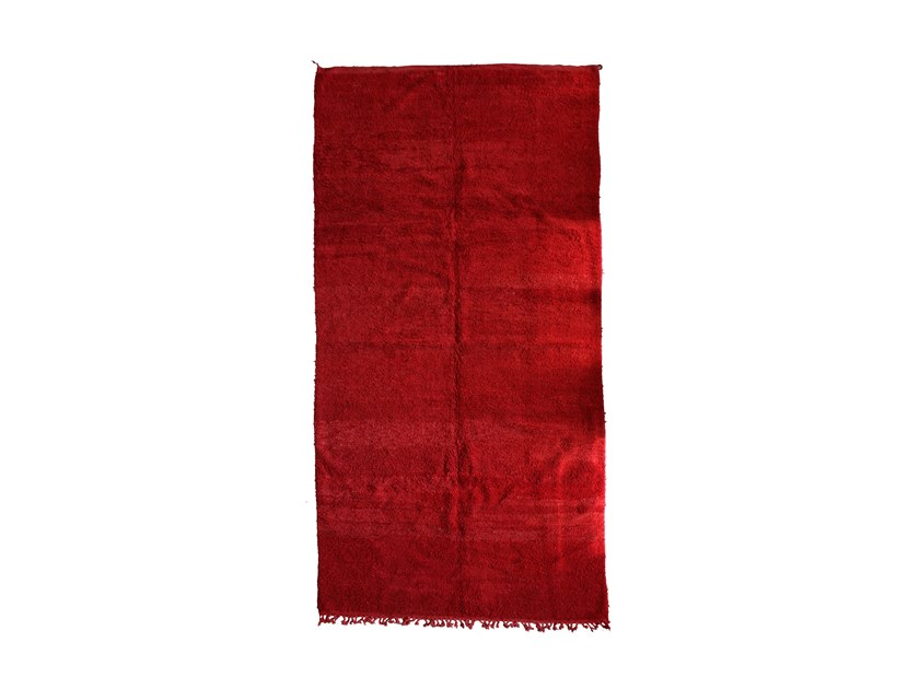 Long pile solid-color rectangular wool rug CHICHAOUA TAA903BE by AFOLKI