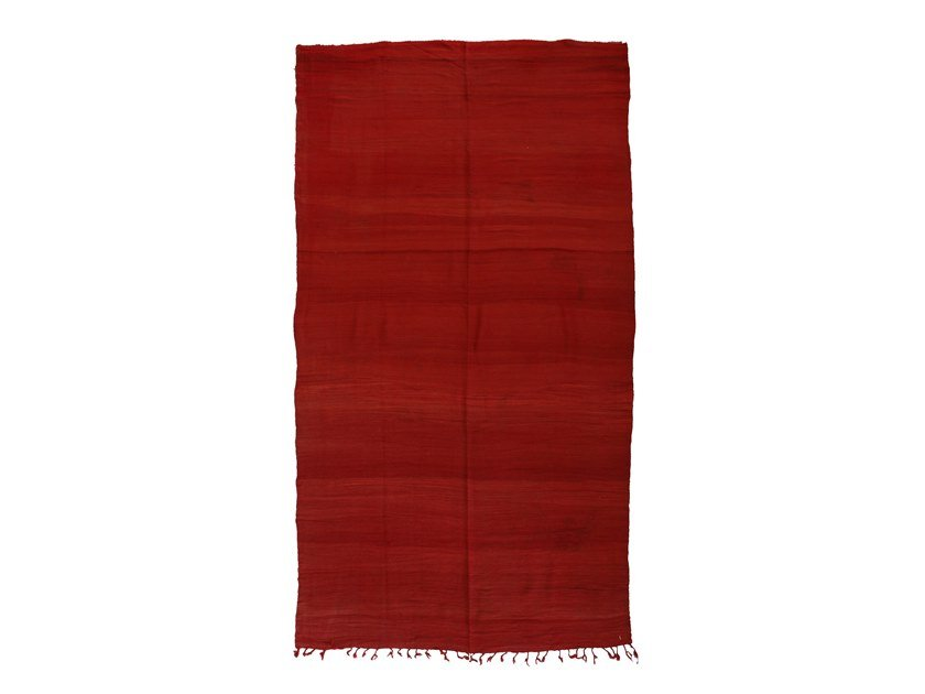Long pile solid-color rectangular wool rug CHICHAOUA TAA904BE by AFOLKI