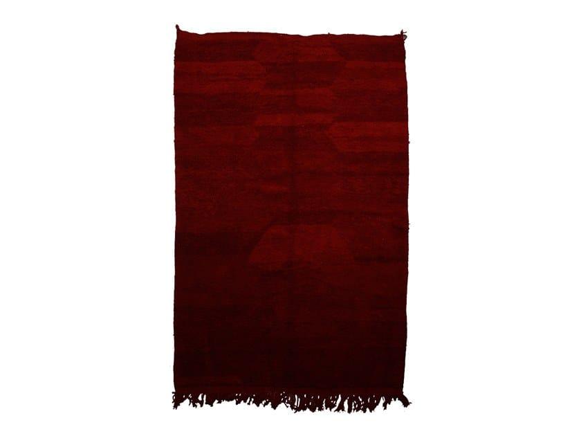 Long pile rectangular wool rug CHICHAOUA TAA946BE by AFOLKI