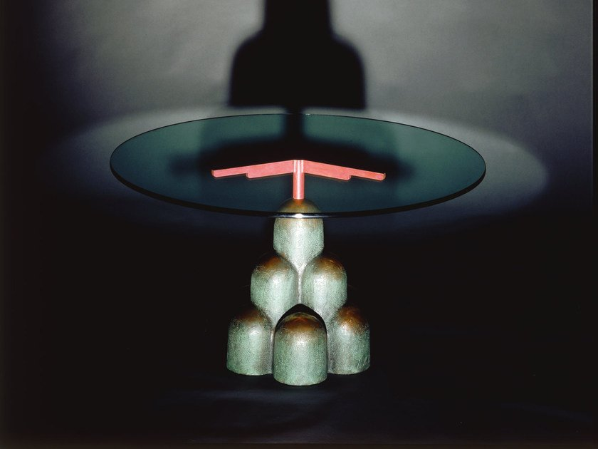 Round crystal and bronze table CHIGIANO by Mirabili