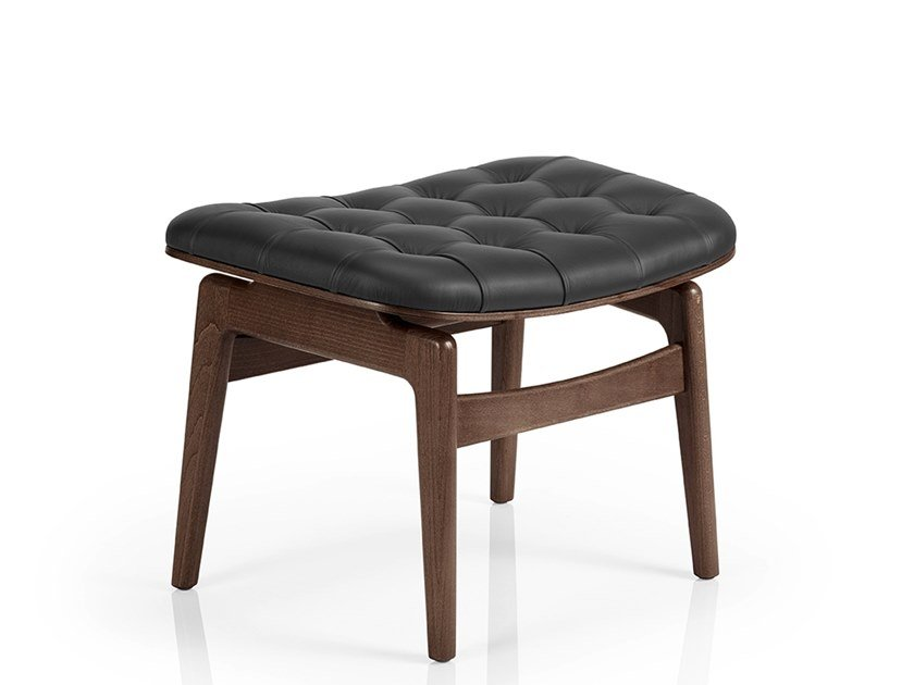 Leather footstool CHLOE M933 WU CR by JMS