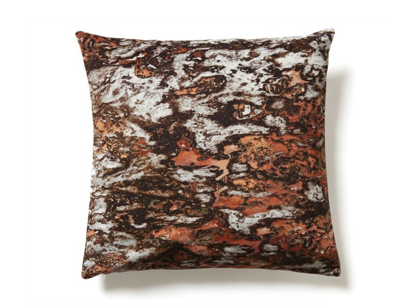 Square polyester cushion CHOCOLATE AND COPPER SARRANCOLIN MARBLE | Cushion by Koziel