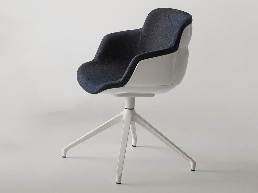 Swivel upholstered chair with armrests CHOPPY SLEEK U by GABER