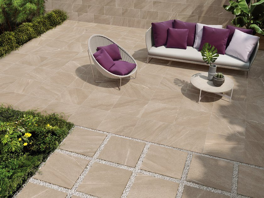 Porcelain stoneware outdoor floor tiles with stone effect CHORUS BEIGE K2 by CERAMICHE KEOPE