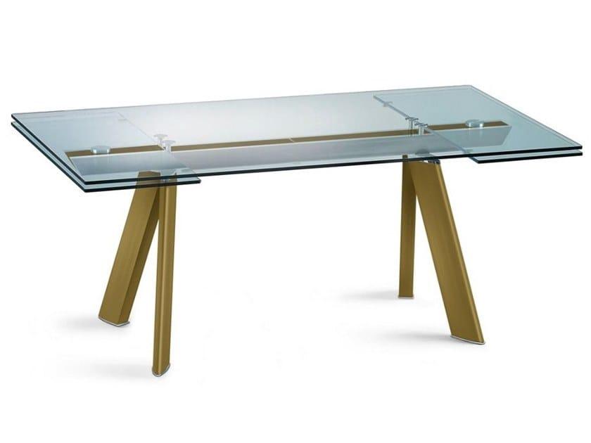 Extending rectangular Anodized aluminium table CHRONOS ANODISE by ROCHE BOBOIS
