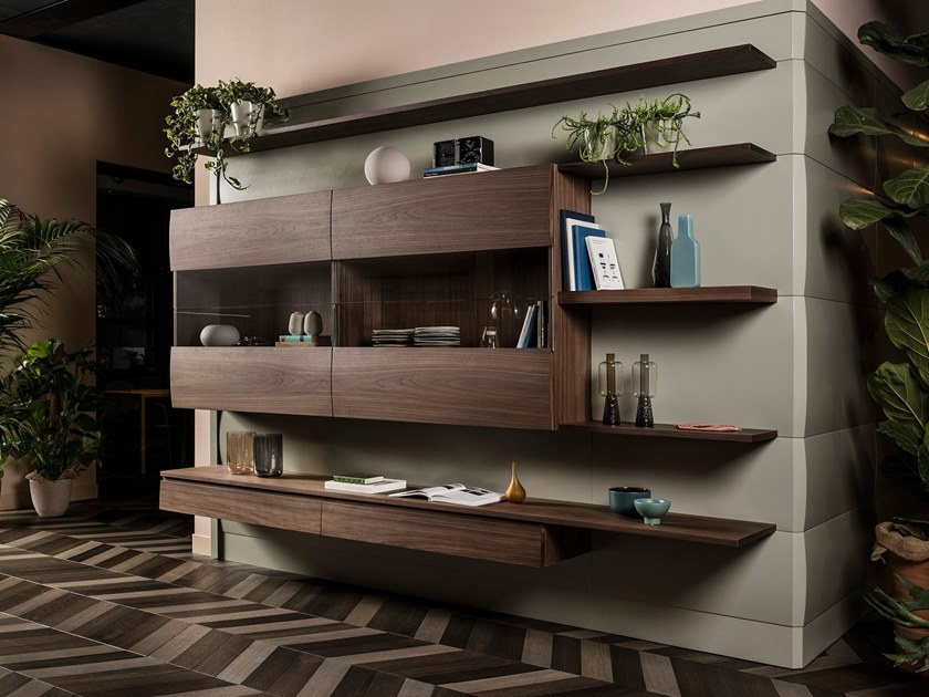 Wall-mounted wood and glass storage wall CHRONOS   Storage wall by L'Ottocento