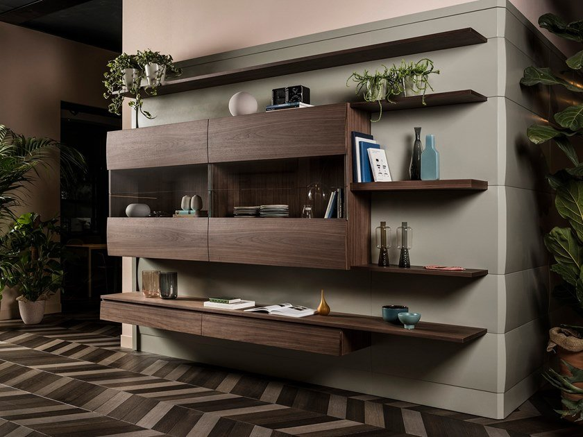 Wall-mounted wood and glass storage wall CHRONOS | Storage wall by L'Ottocento