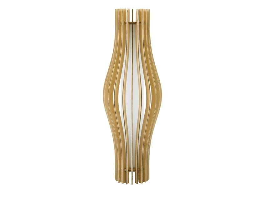Fluorescent wooden wall light CHRYSALIDE 450 by Brossier Saderne