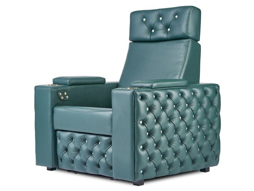 Leather Cinema armchair with motorised functions CHESTERFIELD | Cinema armchair by moovia