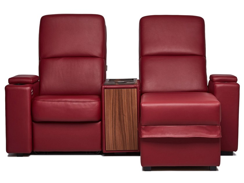 Sectional leather Cinema armchair with motorised functions VENICE | Cinema armchair with chaise longue by moovia
