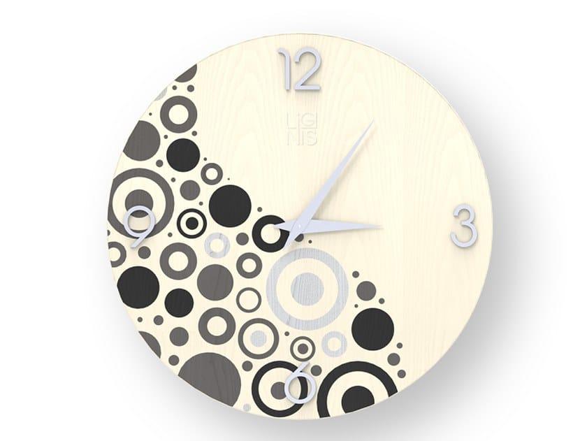 Orologio da parete in legno intarsiato CIRCLES COLD   Orologio by LIGNIS®