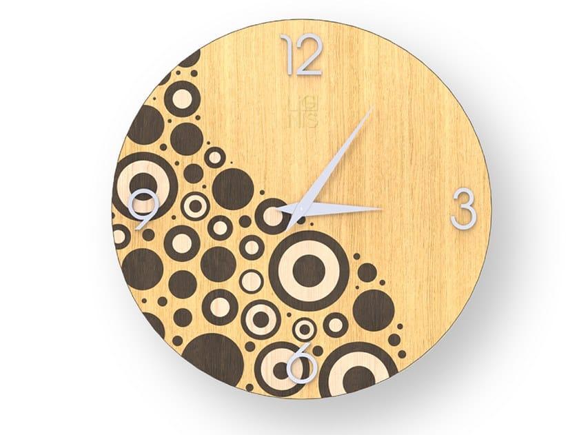 Orologio da parete in legno intarsiato CIRCLES WARM | Orologio by LIGNIS®