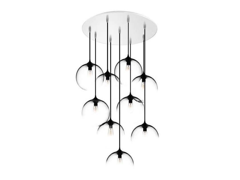 Direct light handmade blown glass pendant lamp CIRCULAR-9 by Niche Modern