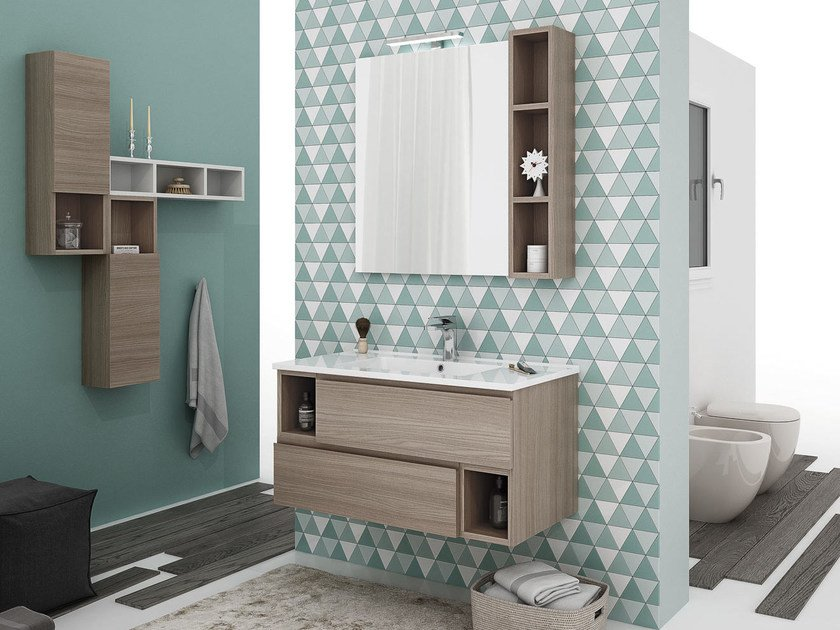 Wall-mounted vanity unit with drawers CITY 03 by LEGNOBAGNO