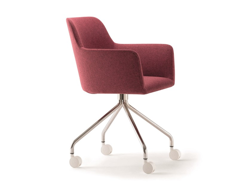 Upholstered trestle-based chair with casters CITY | Chair with casters by Quadrifoglio
