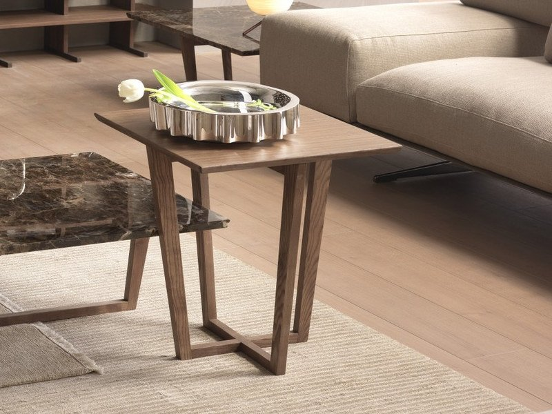Low wood veneer coffee table CITY   Square coffee table by Pacini & Cappellini